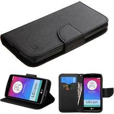 MYBAT LG Leon LTE Case Flip Stand Fancy Wallet - Black/Black Liner