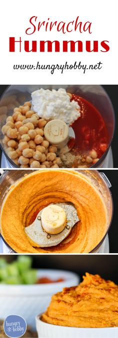 Sriracha Hummus has a protein kick and a spicy flavor kick that is sure to make snack time or game time a win!   via @hungryhobby