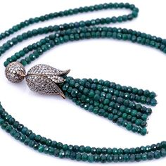 Tulip Necklace with Emerald Stones - Unique Turkish Jewelry from Turkey