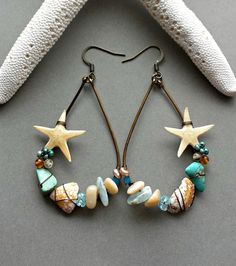 Real Starfish Hoop Earrings Hawaiian Shell by BellaAnelaJewelry