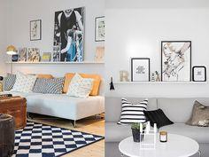 Outra maneira linda de expor quadros acima do sofá, é usar prateleiras para o seu apoio.