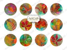 AUTUMN LEAVES 2.5 inch Digital Collage Sheet for by ArtCult