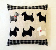 "Scottish Terrier Pillow Cover 16""x 16"" ( 40x40 cm) . Applique Pillowcase. Black and White Tartan Trow Pillow."
