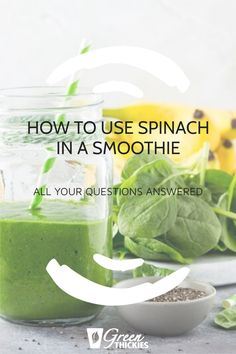 Complete guide on how to use spinach in a smoothie, whether to use fresh or frozen spinach, how much, how to measure it, is raw spinach safe, can you taste it? Raw Vegan Smoothie, Best Green Smoothie, Healthy Green Smoothies, Fruit Smoothie Recipes, Smoothie Diet, Raw Spinach, Frozen Spinach, How To Store Spinach, Spinach Nutrition Facts