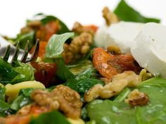 This pasta and Goat's cheese salad is the quintessential summertime meal, light and fresh but filling enough for supper - uses Alex James' Farleigh Wallop. Tomato Salad, Pasta Salad, Cheese Recipes, Uk Recipes, Goat Cheese Salad, Roasted Tomatoes, Kung Pao Chicken, Lettuce, Favorite Recipes