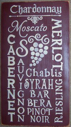 WINE Lover Subway Art Typography Sign Plaque Vino Decor Grapes. $52.95, via Etsy.