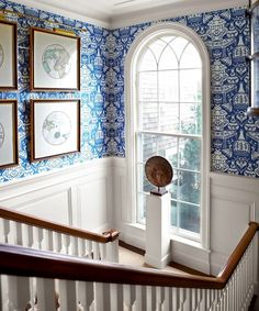 3 Common Staircase Design and Decor Mistakes {what to do instead} David Hicks - The Vase wallpaper in blue and white from Clarence House looks fab in this staircase | love the gorge window and mouldings too!