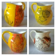 Hand painted ceramic milk jugs now available R325 each. Email freakalee@vodamail.co.za