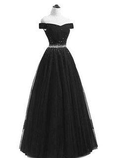 long prom dresses - Black Tulle Bridesmaid Dress, Beaded Prom Dress Black Party Dress, Laceup Back Pretty Prom Dresses, Prom Dresses 2018, Black Party Dresses, Ball Dresses, Elegant Dresses, Cute Dresses, Beautiful Dresses, Ball Gowns, Formal Dresses