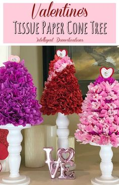 How To Make A Tissue Paper Cone Tree for Valentine's decor. Cheap and easy Valentines home decor. Valentine Tree, Valentines Day Party, Valentine Day Crafts, Walmart Valentines, Valentine Flowers, Valentine Ideas, Tissue Paper Trees, Paper Flowers, Cone Trees