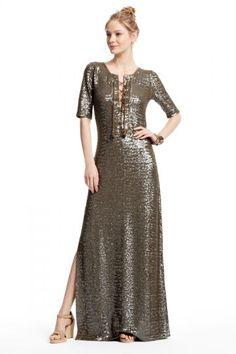 Ninu Sequin Encrusted Linen Jersey Maxi Dress | Calypso St. Barth