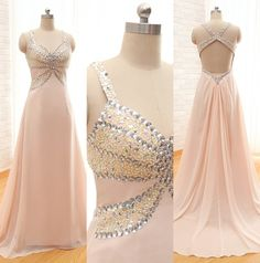 Custom Made Fashion Long Chiffon Prom Dresses A-Line Sweetheart Spaghetti Backless Evening Dresses With Sequined Beaded