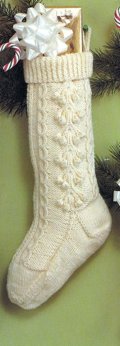 old knitted christmas stocking patterns | Knitted Christmas Fisherman Stocking Vintage PDF PATTERN
