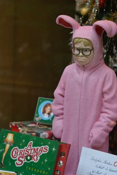 A Christmas Story window display at The Arcade/Hyatt Regency in Downtown Cleveland.