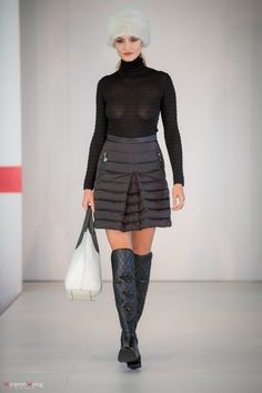 Quilted Moncler skirt, Missoni turtle-neck, fur hat and handbag all from BluBird, Oakridge Centre Fashion Show at Luxury & Supercar Weekend - Photo: Winston Wong http://styledrama.com/2014/09/09/sportswear-influence-fall/