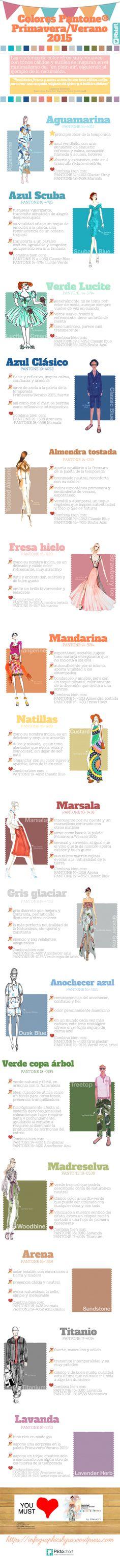 Inspírate con la siguiente infografía. La moda y las tendencias van siempre por delante. Aún colea el Verano 2014 y Pantone® ya ha presentado los tonos 'top' que protagonizarán su paleta de colore...