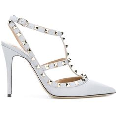 Valentino Garavani Rockstud Decolletè (200 KWD) ❤ liked on Polyvore featuring shoes, pumps, grey, gray shoes, pointy-toe pumps, pointy toe stiletto pumps, grey pumps and stilettos shoes