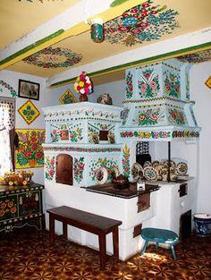Recreated folk kitchen at the Muzeum Okręgowe in Zalipie, Poland Poland Country, Polish Folk Art, Poland Travel, Romania Travel, Bohemian Interior, Krakow, House Painting, Ukraine, Sweet Home
