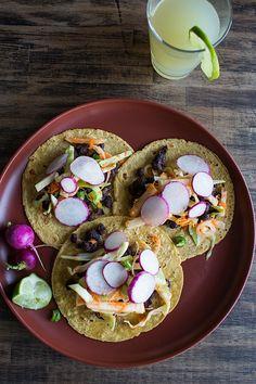 Black Bean Tacos with a jicama slaw and radish salsa  |  Chez Us