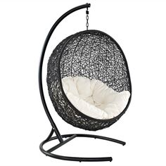 Imagine yourself lounging in your back yard or living room and falling asleep on this ultra comfortable swinging lounge chair. Blur the lines between reality and the dream-state with EMFurn's Inception sturdy espresso metal stand and rattan seat. Surround yourself with plush white-fabric cushions...