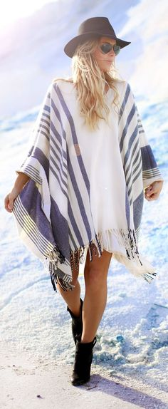 White And Blue Oversize Fringed Striped Cape. It's like wearing a big, cozy blanket!