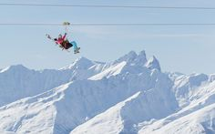 The world's highest zipline, La Tyrolienne, spans the Maurienne and Taretaise valleys in the French Alps. Adventure Bucket List, Adventure Is Out There, Ski Val Thorens, Skier, Ski Season, Ski Holidays, French Alps, Snow Skiing, Places