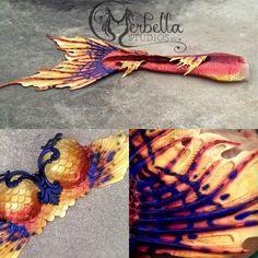 Fiery Merbella mermaid tail She Creature fluke, full dragonskin silicone