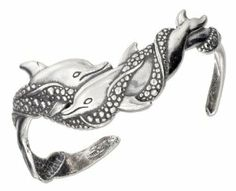 Sterling Silver Satin and Antiqued Swimming Double Dolphin Cuff Bracelet 100Silver. $122.92