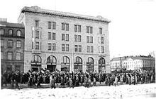 On strike in Helsinki, 1917. Workers demanded food and a complete shifting of legislative power from the Russian government to the Finnish parliament.