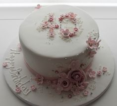 Love this classy floral 40th birthday cake - Jill the Cakemaker