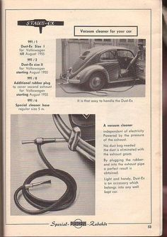 Dust Ex (Staub Ex) for Volkswagen Cleaning in the early Fifties Vw T, Volkswagen Bus, Volkswagen Transporter, Vw Cabrio, Vw Classic, Combi Vw, Vw Vintage, Vw Beetles, Bugatti