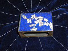 Antique Cloisonne Match Safe / Chinese Art / Lapis by aquabead, $45.00