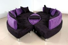 Classy Purple Sofas Beautifying Your Rooms: Unique Design Applied In White Sofas With Cushions Unit