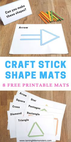 Get your copy of these FREE Printable Craft Stick Shape Mats. These mats are a fun way to teach toddlers and preschoolers about shapes, math, fine motor skills and language. Get your copy here. #freeprintable #toddler #preschool #shapes #math #finemotor Fine Motor Activities For Kids, Printable Activities For Kids, Preschool Printables, Printable Crafts, Math For Kids, Preschool Activities, Free Printables, Learning Shapes, Fun Learning