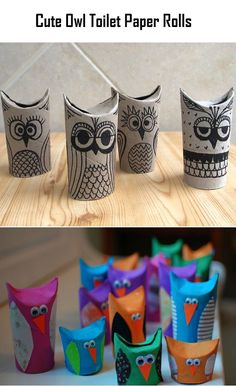 Cute Owl Toilet Paper Rolls. Good camper project for kiddos.