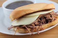 french dip recipe! This is soooooo freakin delicious!! I got french bread hoagies and buttered and broiled each half until it was toasty and then put the meat and swiss on and broiled again to melt the cheese. Soooo good! I was very surprised!! Also, i used a brisket.