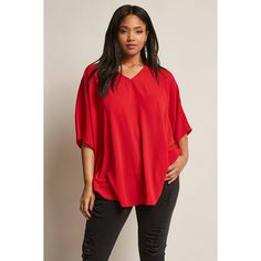 Forever21 Plus Size Dolman Sleeve Top ($28) ❤ liked on Polyvore featuring plus size women's fashion, plus size clothing, plus size tops, red, red top, dolman short sleeve tops, v neck dolman sleeve top, dolman sleeve tops and forever 21