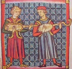 Medieval painting of guitarra latina and guitarra morisca from the Cantigas de Santa Maria (13th. century)