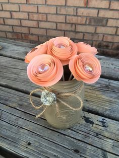 Paper Flower Mason Jar Arrangement / Centerpiece / Peach / Tan by Thecheerfuldreamer on Etsy https://www.etsy.com/listing/269905731/paper-flower-mason-jar-arrangement