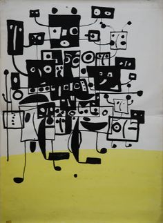 """Lubomir Blecha, Design of poster for drama """"Visions"""", 1962, The regional puppet theater in Banská Bystrica, Czechoslovakia"""