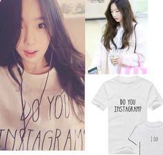 Girls generation テヨン 2015 sm町kpop スター ファッション白黒簡単な tシャツ ido手紙女の子女性韓国服tシャツ(China (Mainland))