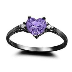 0.50CT Purple Amethyst CZ Heart Shape Round Black Gold Rhodium 925 Sterling Silver Promise Ring Love Valentines Gift Wedding Engagement Ring