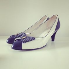 Bally shoes size 65 blue white 50s with a bow by Typolove on Etsy, €69.00