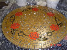 Mosaic roses on a lazy Susan by Lisa B