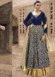 Bridal Wear Bhagalpuri Silk Blue Antique Work Straight Suit