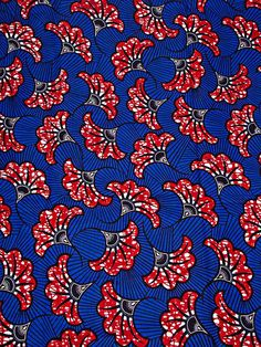 Blue wax fabric printed pattern african red leaf cotton by taniavisinoni Pretty Patterns, Color Patterns, Beautiful Patterns, Motifs Textiles, Textile Patterns, African Textiles, African Fabric, African Patterns, African Prints