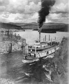 White Horse paddle steamer on the Yukon River at 5 finger area.