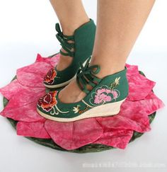 Embroidered Floral Shoes Womens Wedge Platform Strapy Cotton Dance Ethnic Style