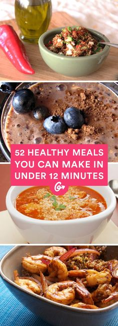 30-minute meals just not cutting it? Try these 52 delicious breakfasts, lunches, and dinners that will satisfy hunger faster than you can order takeout. #healthy #quick #recipes http://greatist.com/health/52-healthy-meals-12-minutes-or-less
