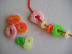 Candy licorice necklaces! Great idea for a kid's party craft they can eat!